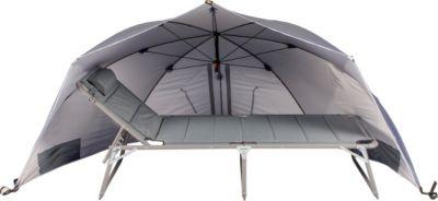 Riesen Strandmuschel Windschutz Sonnenabdeckung Sonnenschirm mit UV Schutz, ca. Ø 290 cm, Grau