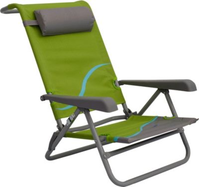 Strandstuhl mit Verstellbarer Rückenlehne und Kopfpolster Klappstuhl Anglerstuhl Campingstuhl grün/grau