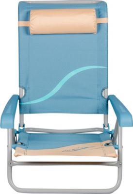 Strandstuhl mit Verstellbarer Rückenlehne und Kopfpolster Klappstuhl Anglerstuhl Campingstuhl beige/blau
