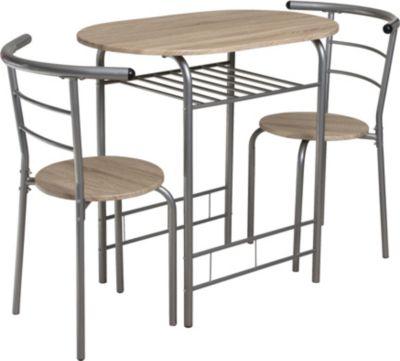 Gardenhome 3tlg. Set Essgruppe Mainz Sitzgruppe, Eiche Dekor, Tisch 80x53 cm