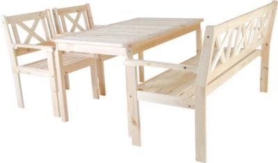 Nordische Gartenmöbel Massivholz Sitzgarnitur EVJE Tischgruppe Natur