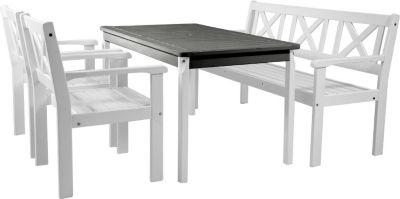 Gardenhome 4tlg. Set EVJE Sitzgarnitur Weiß Gartenmöbel Tischgruppe