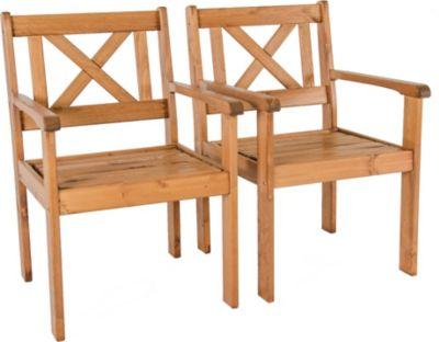 Gardenhome 2er Set Sessel EVJE Braun Massivholz Gartenstuhl Stuhl