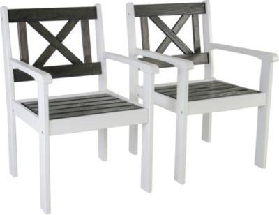 Gardenhome 2er Set Sessel EVJE Gartenmöbel Weiß/Taupe ca. 59x64x90 cm
