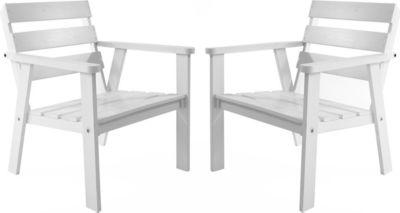 Gardenhome 2er Set Massivholz Sessel HANKO Gartenstuhl Stuhl Weiß
