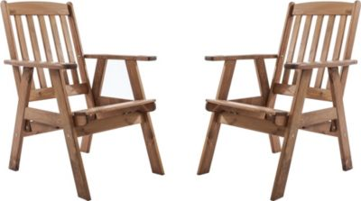 Gardenhome 2er Set Massivholz verstellbarer Sessel VARBERG Hochlehner Nordisches Design Braun