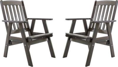 Gardenhome 2er Set Massivholz verstellbarer Sessel VARBERG Hochlehner Taupegrau