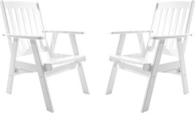 Gardenhome 2er Set Massivholz verstellbarer Sessel VARBERG Hochlehner Weiß
