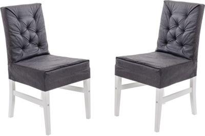 2er Set Massivholz Dining Stuhl MARIHAMN Weiß mit schwarzem Überzug Husse