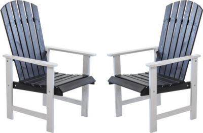 Gardenhome 2er Set Massivholz Sessel Stuhl STRANDA Gartenstuhl Weiß/Taupegrau
