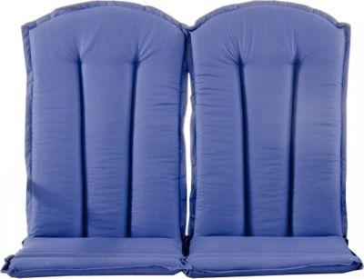 Gardenhome 2er Set Auflage STRANDA für Sessel Hochlehner oder Bank in Blau