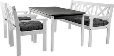 Gardenhome 7tlg. Set EVJE Weiß Sitzgruppe mit Kissen Tischgruppe