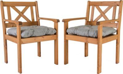 Gardenhome 2er Set Sessel EVJE inkl. Kissen Braun ca. 59x64x90 cm