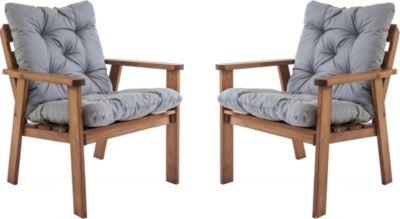 Gardenhome 2er Set Sessel HANKO inkl. Kissen Braun ca. 62x65x79 cm