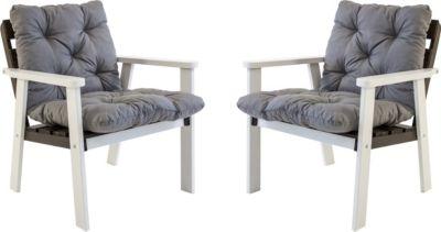Gardenhome 2er Set Massivholz Sessel Gartenstuhl Stuhl HANKO inkl. Kissen Nordisches Design Weiß/Taupegrau