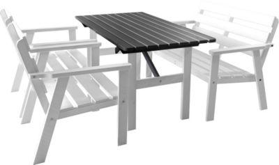 Gardenhome 4tlg. Loungegruppe HANKO Weiß Gartenmöbel Massivholz Essgruppe