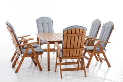 13tlg. Sitzgruppe STRANDA Essgruppe Braun mit Kissen Tisch eckig ca. 160x90 cm