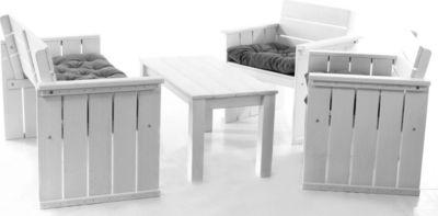 Gardenhome 7tlg. Set Loungegruppe EUROPA Strandgut07 Essgruppe in Weiß mit Kissen, Kaffeetisch ca. 100 cm