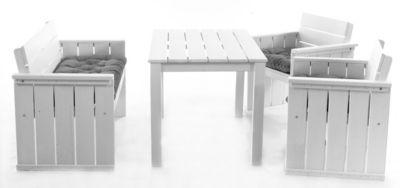 Gardenhome 7tlg. Set Loungegruppe EUROPA MAXI Strandgut07 Essgruppe in Weiß mit Kissen, Esstisch ca. 120 cm