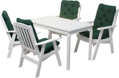 9tlg. Set Massivholz Sitzgruppe VARBERG verstellbarer Sessel, Weiß, Tisch ca. 120 x 70 cm