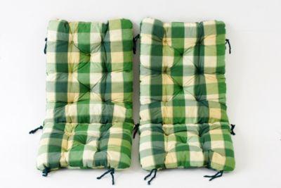 Gardenhome 2er Set Polsterauflage für Klappstuhl, kariert grün, ca 90 x 40 x 8 cm, Kissen Sitzauflage