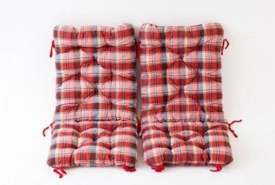 Gardenhome 2er Set Polsterauflage für Klappstuhl, kariert rot, ca 90 x 40 x 8 cm, Kissen Sitzauflage