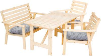 7tlg. Sitzgruppe Elista Essgruppe Loungegruppe mit Kissen, Tisch ca. 130 x 80 cm