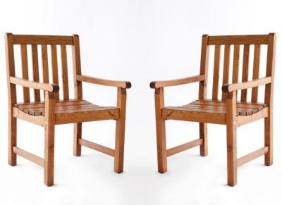Gardenhome 2er Set Sessel Finnland Braun Massivholz Gartenstuhl Stuhl