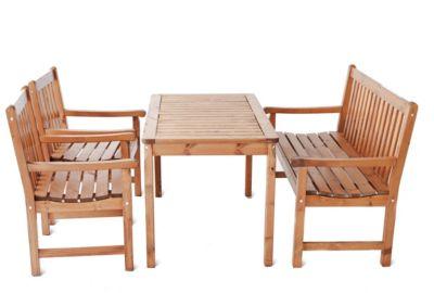 Gardenhome 4-teiliges Set Garten Sitzgruppe Finnland Tischgruppe Braun