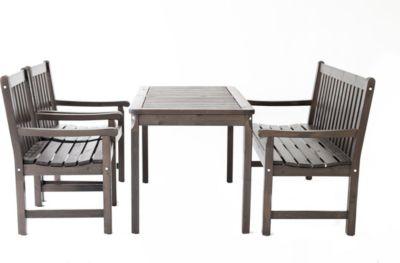Gardenhome 4-teiliges Set Garten Sitzgruppe Finnland Tischgruppe Taupegrau