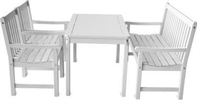 Gardenhome 4-teiliges Set Garten Sitzgruppe Finnland Tischgruppe Weiß