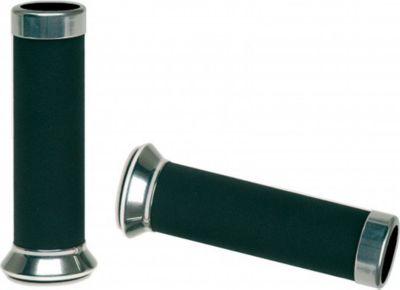 Vespa Aluminiumhandgriffe mit Leder für Roller GTS Schwarz mit Lederbesatz
