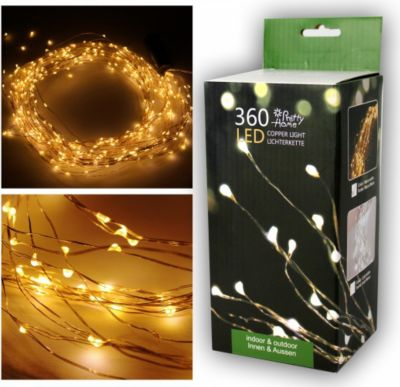 Premium LED Lichterkette, Drahtlichterkette, Mico LED, 360 LED, 250 cm, warm weiß, Indoor/Outdoor, IP 44