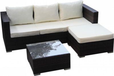 1PLUS  Lounge-Ecksofa aus Polyrattan (braun) inkl. Tisch mit Glasplatte und wasserabweisenden Polstern