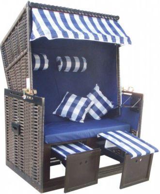 1PLUS Strandkorb ´´Juist´´ in Blau, mit Abdeckh...