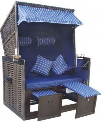 1PLUS Strandkorb ´´Amrum´´ in Blau, mit Abdeckh...