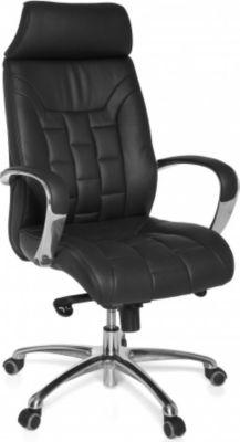 1PLUS Design Echtleder Bürostuhl Collection TURIN: Chefsessel und Besucherstuhl, in schwarz
