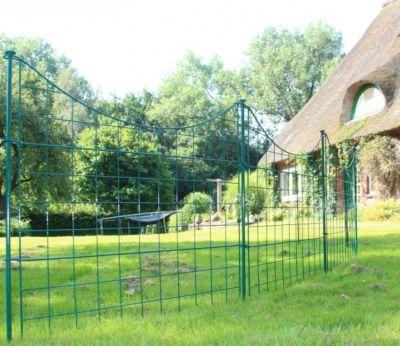1PLUS  Teichzaun Gartenzaun Campingzaun Set (5 Elemente), grün, Unterbogen