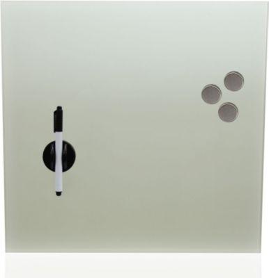 Glas Magnetboard Whiteboard Memoboard mit 3 Magneten und Filzstift 40 x 40 cm