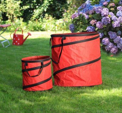 1PLUS  Pop Up Sack, Spielzeugsack, Gartensack, Wäschesack 85 und 15 Liter, Rot