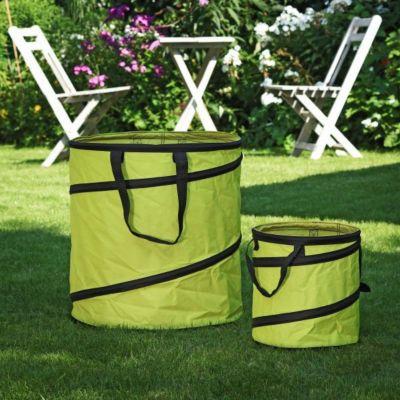 1PLUS  Pop Up Sack, Spielzeugsack, Gartensack, Wäschesack 85 und 15 Liter, Grün