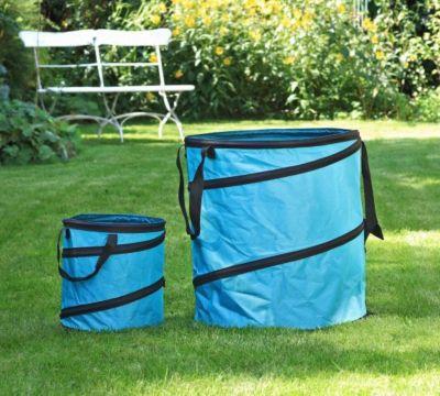 1PLUS  Pop Up Sack, Spielzeugsack, Gartensack, Wäschesack 85 und 15 Liter, Blau