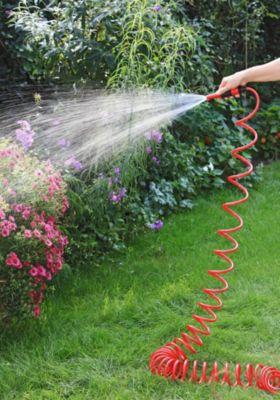 1PLUS  Premium Spiral-Gartenschlauch 10 m & regulierbarer Wassersprühkopf & umfangreiches Zubehör-Set, rot