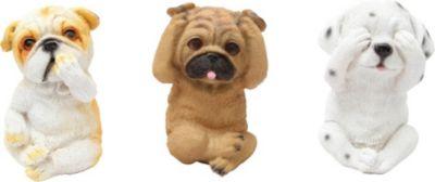 "1PLUS  Polyresin Gartenfigur Drei Hunde ""Nikko"" Gartendekoration Größe ( B x H x T): ca. 10.5 x 14,5 x 10 cm"