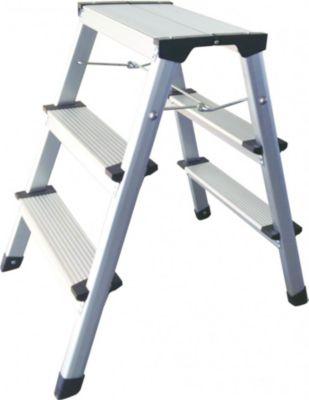Aluminium Tritt / Leiter Trittleiter Klapptritt 2 x 3 Stufen bis 150 kg belastbar, Höhe: ca. 60 cm