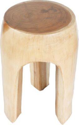 1PLUS  Runder Beistelltisch Hocker mit 3 Beinen aus Thailändischer Akazie