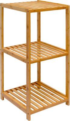 Badregal 83x38x40cm Bambus Holz Regal 3 Fächer Bad Badezimmer Standregal Ablage