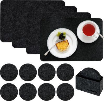 Tischset 4 Extra-Dicke Filz Platzsets 43x30x0,5cm mit 8 Filz-Untersetzer Schwarz