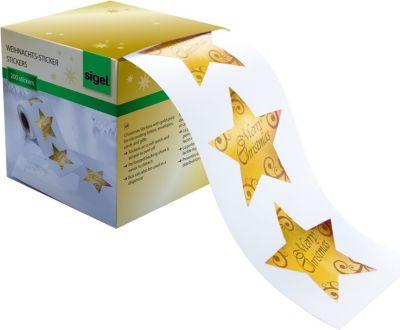 sigel-cs112-weihnachts-sticker-auf-rolle-christmas-stars-200-st-47-x-47mm