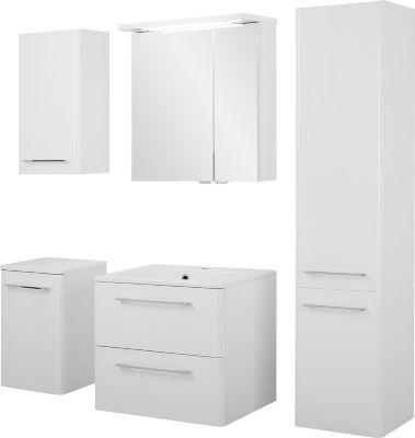 Badezimmer-Set GRETE in weiß hochglanz Badmöbel...